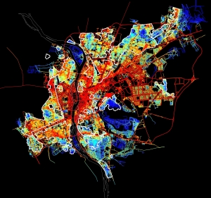 Spatial accessibility map for the urban agglomeration within the Ring RD. Red means integrated and accessible, while blue is segregated.