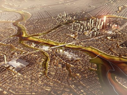 "Fig. 2 ""It's just a bunch of crazy figures,"" [Sims] says of the plans for Egypt's new capital. ""I think it's just desperation. It will be interesting to see if anything comes of it, but I rather doubt it."" [Image source: SOM, 2015; read the full feature in Guardian Cities]"