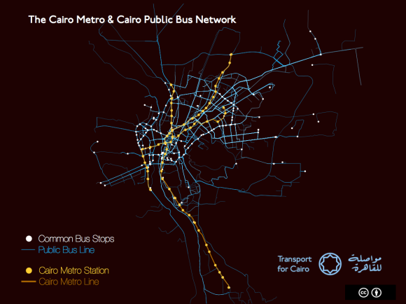Visualization of Cairo's Buses and Metro - routes and stops by Transport for Cairo